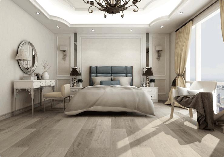 Herringbone Basket Weave Wood Floor in Luxury Home