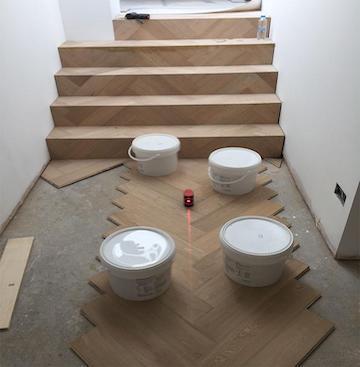 Setting a Crown Line for Engineered Herringbone Parquet Flooring   Case Study