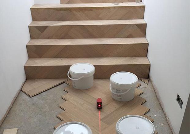 Setting a Crown Line for Engineered Herringbone Parquet Flooring