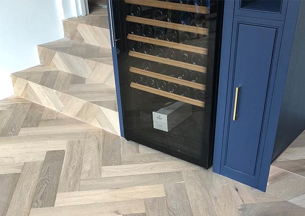 Cladding Stairs in Engineered Herringbone Parquet Flooring