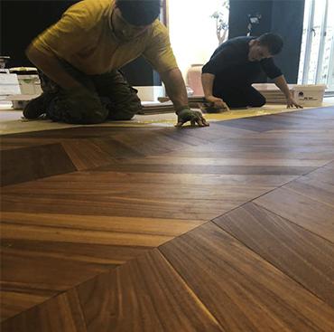 American Black Walnut Chevron Flooring - How to Finish | Case Study