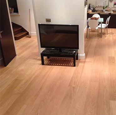 Brushed, UV oiled Oak Flooring in a Kitchen
