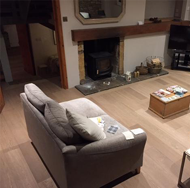 Select Grade Light Fumed Raw Timber Oak Flooring in a Home