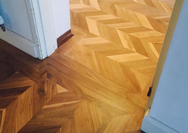 Walnut Chevron Flooring in a home