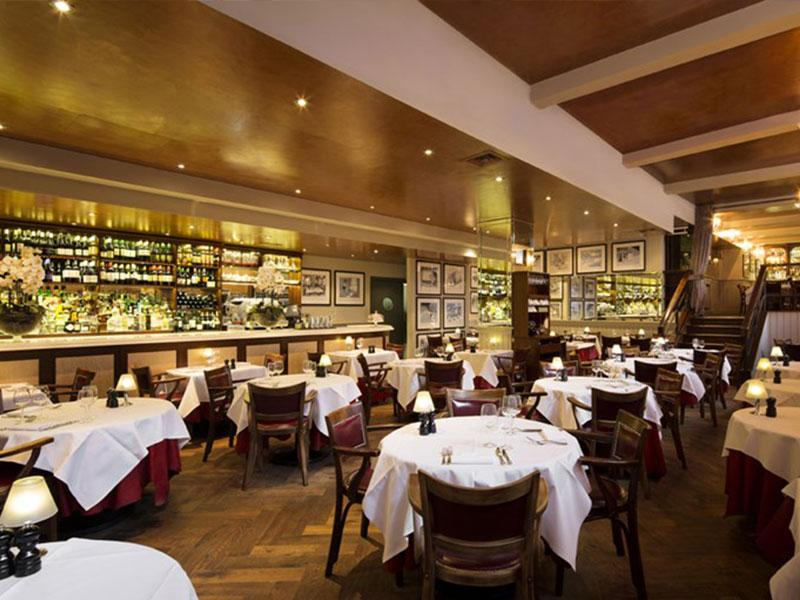 Deep Fumed Oak Herringbone Parquet in Marco Pierre White's London Steakhouse