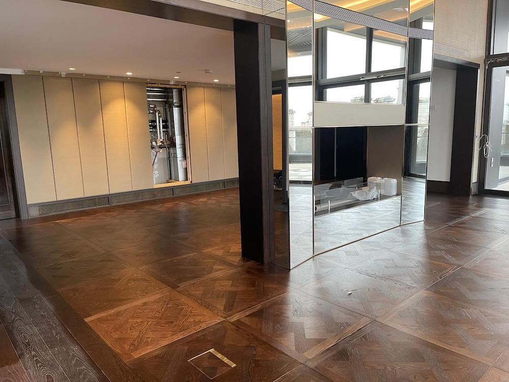 Bespoke Oak Versailles Parquet Flooring in South Bank Place - Case Study