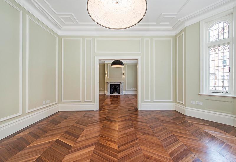 Walnut Chevron Parquet Flooring