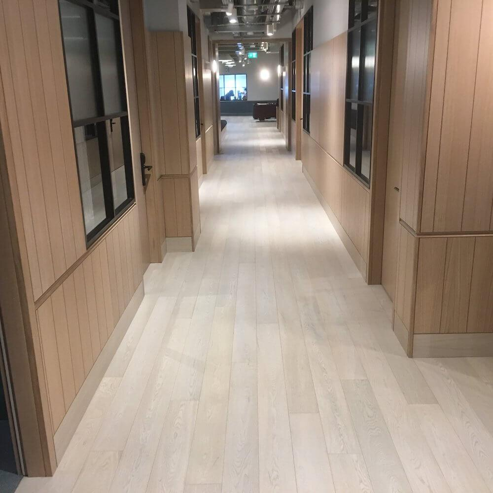 Snow White Engineered Wood Flooring for The Office Group in Thomas House Victoria London