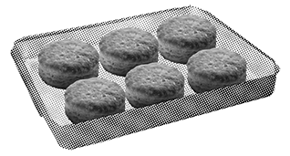 Place frozen biscuits on a rimmed baking sheet, one inch apart. DO NOT THAW.