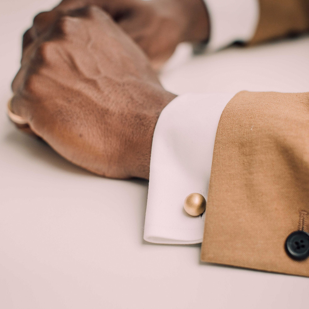 A reversible cufflink celebrating craftsmanship and engineering. Cast and hand-worked in Birmingham, England.