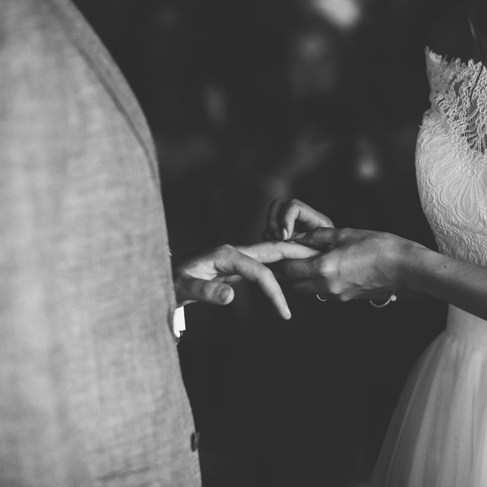 """<p>""""As soon as we saw the beautiful &clean designs, we knew it was exactly the right place for us to choose our wedding bands. Simple yet considered design, attention to processes &working with the best materials, craftsmen &manufacturers in the UK - all approaches we really care about which made the rings feel like a reflection of us.""""<em>Joe & Lauren</em></p>"""