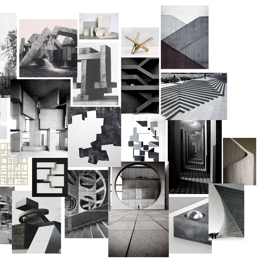 Inspired by Brutalism,  a style with an emphasis on materials, textures and construction.