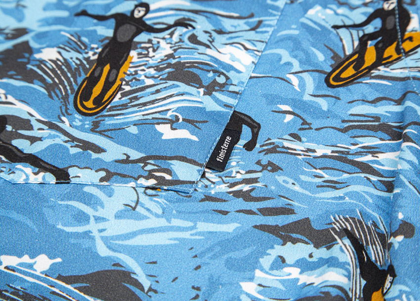 Blue surfer print inspired by our local surroundings around the workshop.
