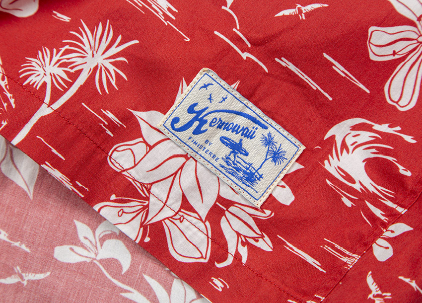 Red Kernowaii print inspired by our local floral and fauna from around the workshop.