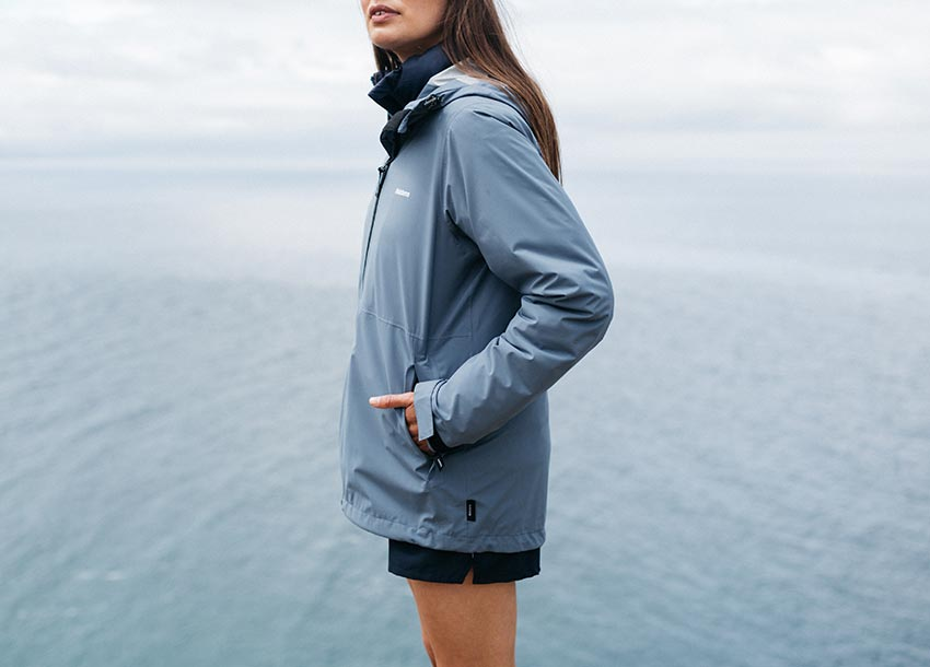 100% recycled polyester fabric features an fc-free waterproof finish.