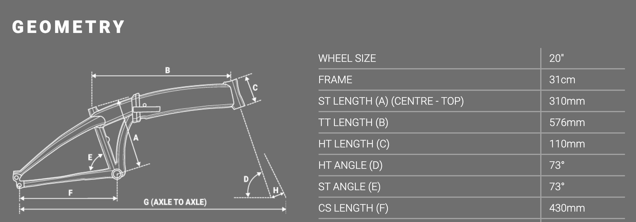 Forme Buxton Pro E Folding E-Bike Geometry Table