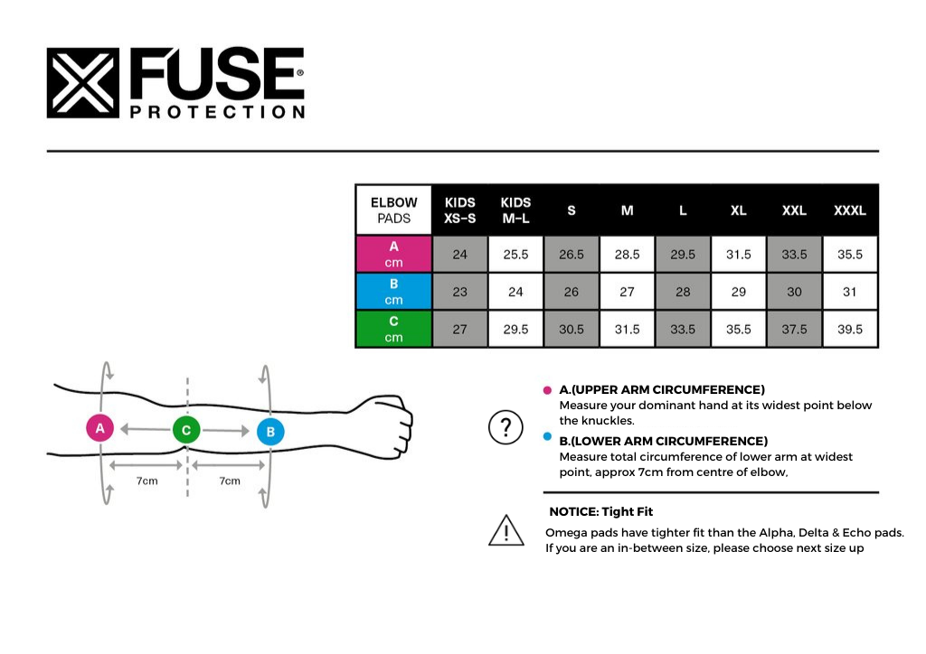 Fuse Alpha Elbow Sleeves Size Chart