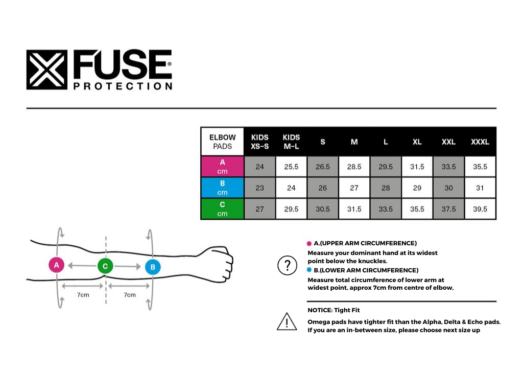 Fuse Echo Elbow Pad Sizing Chart