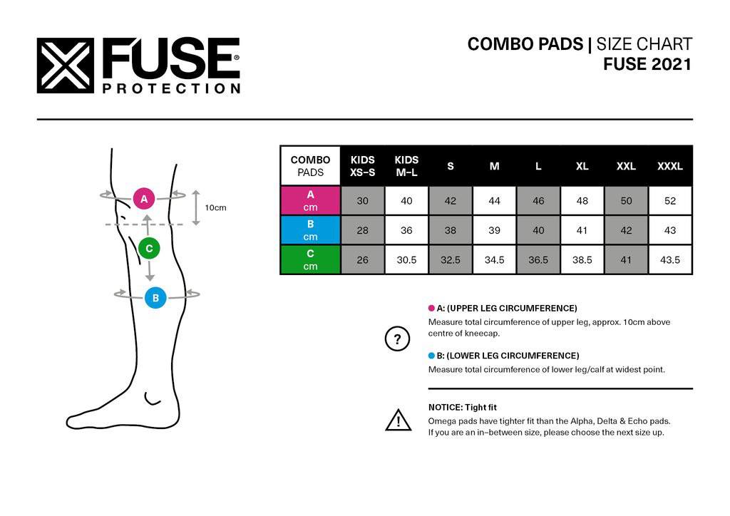 Fuse Omega Knee Shin Whip Pad Size Chart