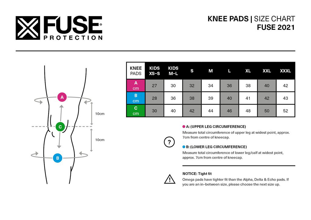 Fuse Omega Knee Pad Size Chart