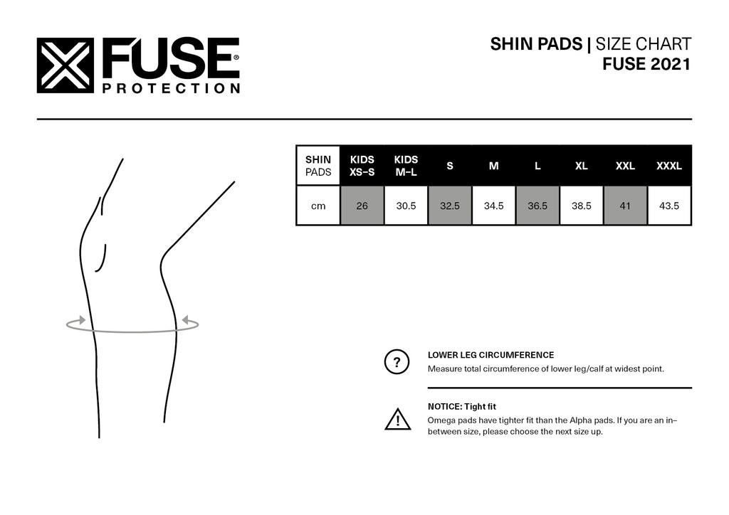 Fuse Alpha Shin Whip Extended Pads Sizing Guide