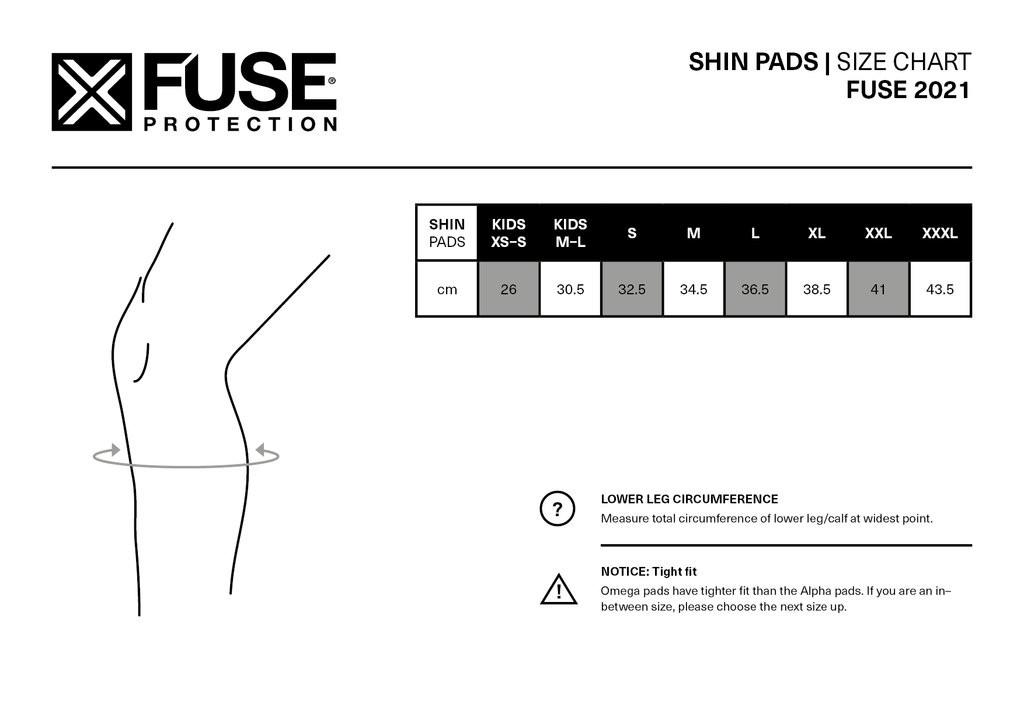 Fuse Omega Shin Whip Pad Size Chart