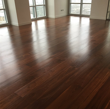 American walnut flooring in Canary Wharf Developments   Case Study
